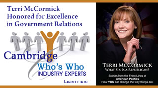 Terri McCormick honored for excellence in government relations by Cambridge's Who's Who industry experts